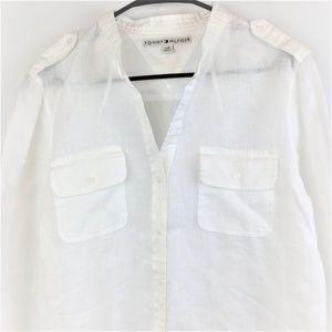 Tommy Hilfiger Womens White Linen Top Large